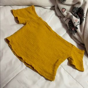 Yellow off the shoulder crop top size small
